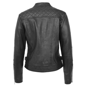 Womens Soft Leather Casual Zip Biker Jacket Ruby Black 1