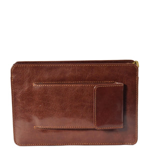 leather bag with mobile phone pocket