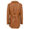 Womens Leather Trench Coat with Belt Shania Tan 1