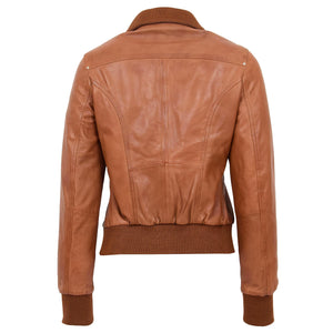 Womens Leather Classic Bomber Jacket Motto Tan 1