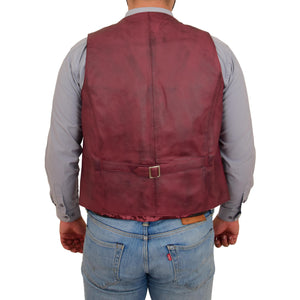 Mens Button Fastening Leather Waistcoat Nick Burgundy back