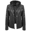 Womens Leather Detachable Hooded Coat Brooke Black 2