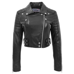 Womens Leather Cropped Biker Style Jacket Demi Black 2