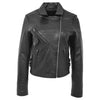 Womens Soft Leather Cross Zip Casual Jacket Jodie Black 2
