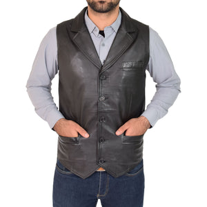 foldable collar leather gilet