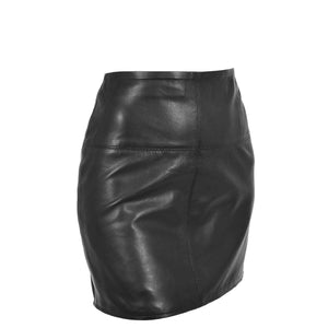 Ladies Leather 16inch Mini Length Pencil Skirt SKT5 Black side angle 1