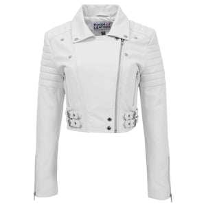 Womens Leather Cropped Biker Style Jacket Demi White 2