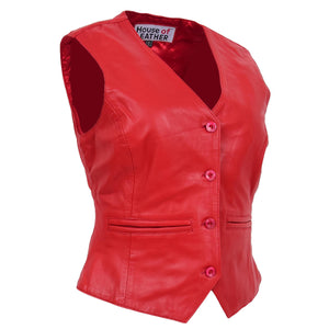 Womens Leather Classic Buttoned Waistcoat Rita Red 2