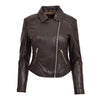 Womens Soft Leather Cross Zip Biker Jacket Anna Brown 2
