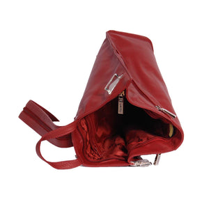 small leather backpack in red