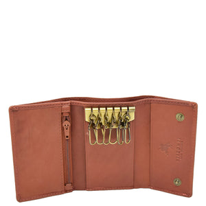 Trifold Leather Keys Wallet HL8711 Brown