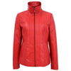 Womens Classic Zip Fastening Leather Jacket Julia Red 2