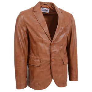 Mens Leather Blazer Two Button Jacket Zavi Tan 2