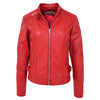 Womens Soft Leather Casual Zip Biker Jacket Ruby Red 2