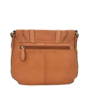Womens Classic Soft Leather Cross Body Bag Mary Tan back