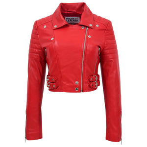 Womens Leather Cropped Biker Style Jacket Demi Red 2