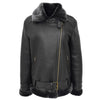 Womens Sheepskin Aviator Cross Zip Pilot Jacket Lena Black 2