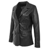 Womens Leather Semi Fit Two Button Blazer Shirley Black 2