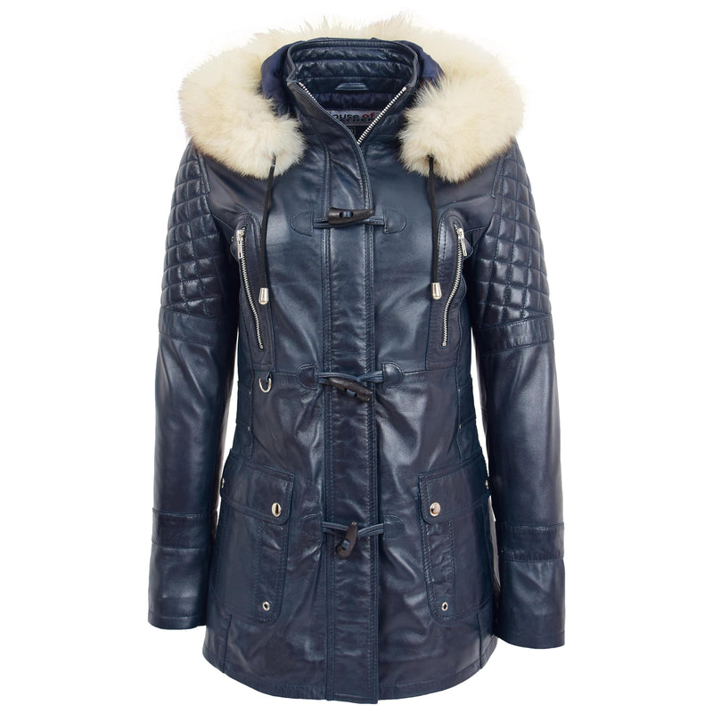 Womens Original Duffle Style Leather Coat Ariel Blue