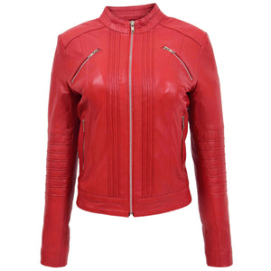 Womens Leather Classic Biker Style Jacket Alice Red 2
