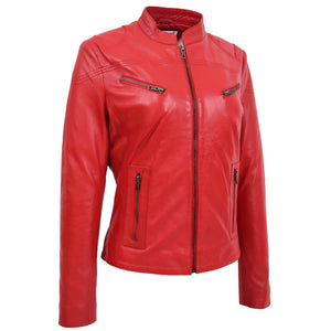 Womens Leather Standing Collar Jacket Becky Red 2