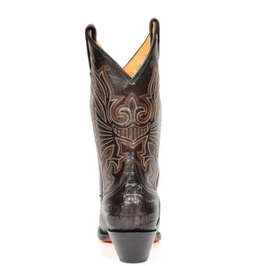 boots with eagle stitching design
