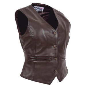 Womens Leather Classic Buttoned Waistcoat Rita Brown 2