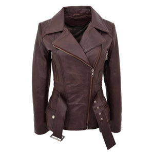 Womens Leather Hip Length Biker Jacket Celia Brown 3