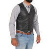 mens leather gilet