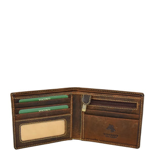 Mens Leather Slim Fold Wallet Prague Oil Tan 3