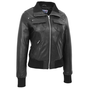 Womens Leather Classic Bomber Jacket Motto Black 2