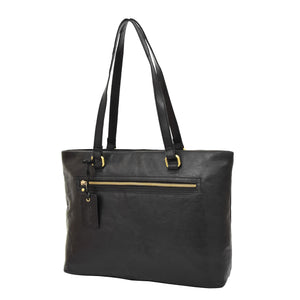 Womens Leather Classic Shopper Bag Sadie Black 2