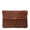 Copy of Leather Clutch Bag Small Wrist Pouch A5 Size Case H8063 Tan Front