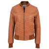 Womens Leather Varsity Quilted Bomber Jacket Sally Tan 2