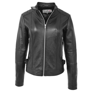 Womens Soft Leather Casual Zip Biker Jacket Ruby Black 2