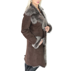 ladies 3/4 length sheepskin coat