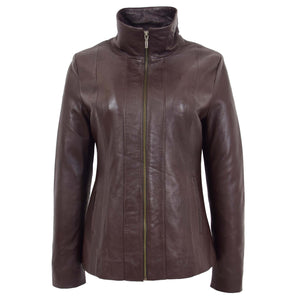Womens Classic Zip Fastening Leather Jacket Julia Brown 2