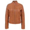 Womens Leather Casual Standing Collar Jacket Ivy Tan 2