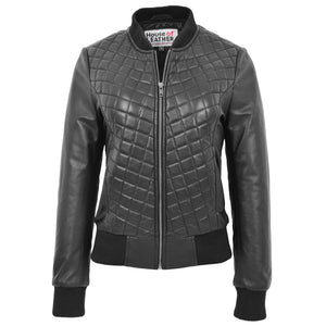 Womens Leather Varsity Quilted Bomber Jacket Sally Black 2