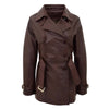 Womens Leather Double Breasted Trench Coat Sienna Brown 3