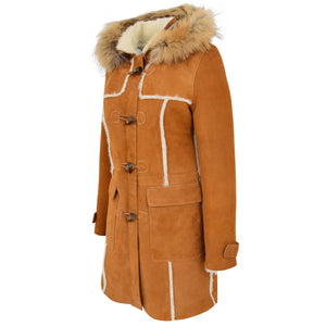 Womens Sheepskin Duffle Coat 3/4 Length Parka Beth Tan White 4