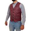 Mens Button Fastening Leather Waistcoat Nick Burgundy side 2