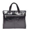 black leather bag with a back zip pocket