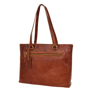 Womens Leather Classic Shopper Bag Sadie Tan 2