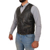 Mens Button Fastening Leather Waistcoat Nick Black Vintage side 1
