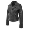 Womens Soft Leather Cross Zip Casual Jacket Jodie Black 3