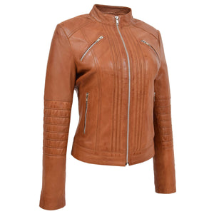 Womens Leather Classic Biker Style Jacket Alice Tan 2