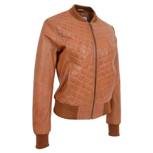 Womens Leather Varsity Quilted Bomber Jacket Sally Tan 3