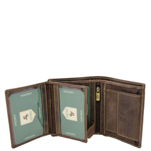 Mens Bifold Vintage Leather Wallet Vienna Brown 4