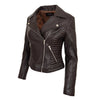 Womens Soft Leather Cross Zip Biker Jacket Anna Brown 3
